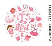 it's a girl  baby shower card.... | Shutterstock .eps vector #795840961