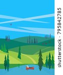 green valley landscape.... | Shutterstock .eps vector #795842785