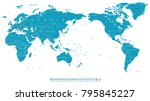 world map outline contour... | Shutterstock .eps vector #795845227