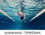 underwater picture of female... | Shutterstock . vector #795852664