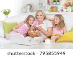 grandmother and granddaughters... | Shutterstock . vector #795855949