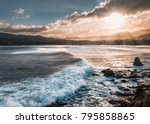 sun breaking through the clouds ... | Shutterstock . vector #795858865