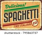 delicious spaghetti meal... | Shutterstock .eps vector #795863737