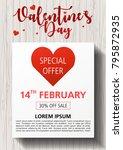 valentines day flyer vector... | Shutterstock .eps vector #795872935