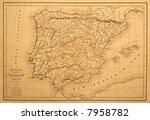 original vintage map of spain... | Shutterstock . vector #7958782
