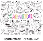 hand drawn carnival objects set ... | Shutterstock .eps vector #795883669