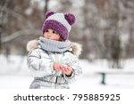 little girl in silver jacket...   Shutterstock . vector #795885925