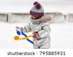 little girl in silver jacket...   Shutterstock . vector #795885931