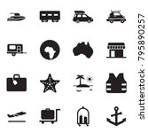solid black vector icon set  ... | Shutterstock .eps vector #795890257