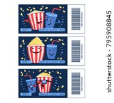 cinema mini tickets set with... | Shutterstock .eps vector #795908845