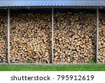 dry chopped firewood logs in a ... | Shutterstock . vector #795912619