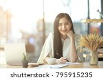 asian business woman working in ... | Shutterstock . vector #795915235