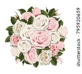 white and pink roses bouquet.... | Shutterstock .eps vector #795920659