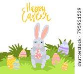 happy easter card template with ... | Shutterstock .eps vector #795921529