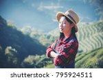 asia worker women were picking...   Shutterstock . vector #795924511