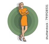 model girl in a yellow dress in ... | Shutterstock .eps vector #795928531