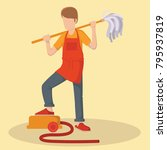 man helping cleaning the house... | Shutterstock .eps vector #795937819