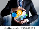 cryptocurrency security concept.... | Shutterstock . vector #795944191