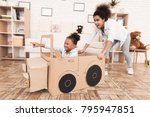 mom and daughter are playing... | Shutterstock . vector #795947851
