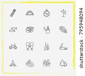 camping line icon set tree leaf ... | Shutterstock .eps vector #795948094