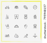 camping line icon set tent ... | Shutterstock .eps vector #795948157