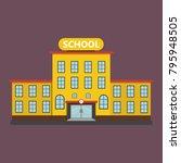 yellow school building | Shutterstock .eps vector #795948505