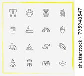 camping line icon set backpack  ... | Shutterstock .eps vector #795948547