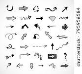 hand drawn arrows  vector set | Shutterstock .eps vector #795956584