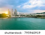 singapore. harbor and city view. | Shutterstock . vector #795960919