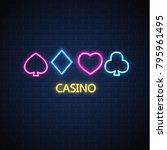 neon casino sign. poker ...   Shutterstock .eps vector #795961495