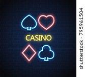 neon casino sign. poker card... | Shutterstock .eps vector #795961504