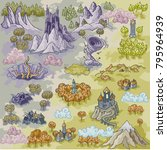 fantasy advernture map elements ... | Shutterstock .eps vector #795964939