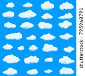 clouds set isolated on blue...   Shutterstock .eps vector #795968791