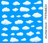 clouds set isolated on blue... | Shutterstock .eps vector #795968824