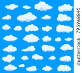 clouds set isolated on blue... | Shutterstock .eps vector #795968845