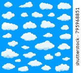 clouds set isolated on blue... | Shutterstock .eps vector #795968851