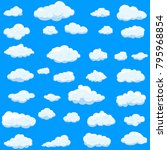 clouds set isolated on blue... | Shutterstock .eps vector #795968854