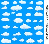 clouds set isolated on blue... | Shutterstock .eps vector #795968857