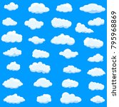 clouds set isolated on blue...   Shutterstock .eps vector #795968869