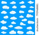 clouds set isolated on blue... | Shutterstock .eps vector #795968881