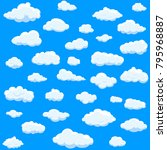 clouds set isolated on blue... | Shutterstock .eps vector #795968887