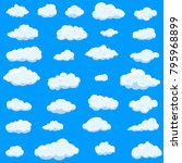 clouds set isolated on blue... | Shutterstock .eps vector #795968899