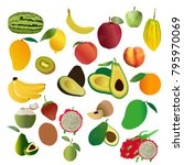 fruit vector set collection | Shutterstock .eps vector #795970069