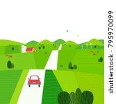 green valley landscape. comic... | Shutterstock .eps vector #795970099