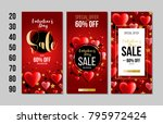 set of valentine's day card ... | Shutterstock .eps vector #795972424