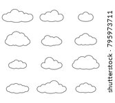 cloud outline set. cloud line... | Shutterstock .eps vector #795973711