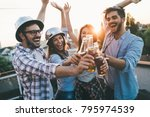 happy friends laughing and... | Shutterstock . vector #795974539