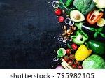 set of fresh vegetables on a... | Shutterstock . vector #795982105