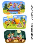 kids summer camping vector... | Shutterstock .eps vector #795982924