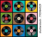 vintage vinyl records | Shutterstock .eps vector #795984529